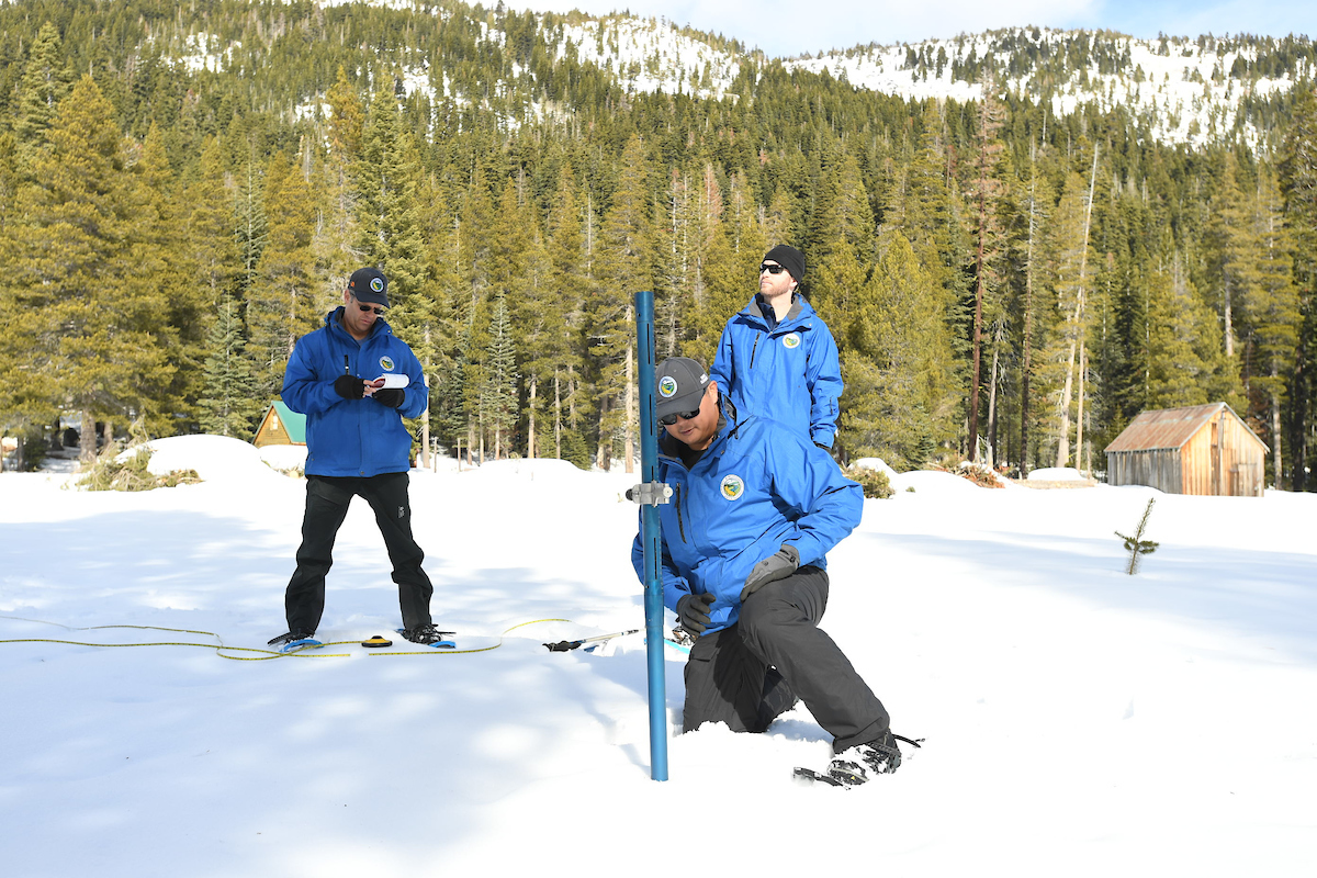 A photo of Sean De Guzaman at the January 30, 2020 snow survey at Phillips Station, CA.