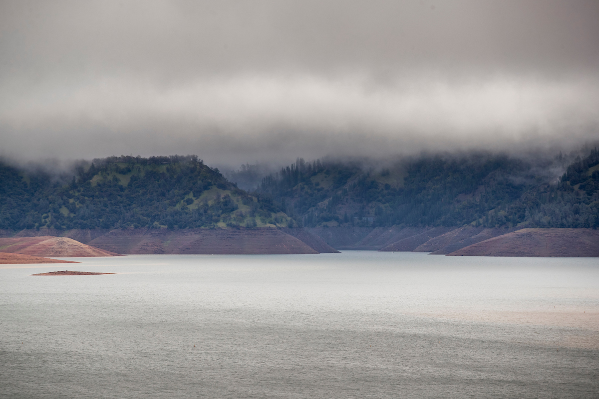 Rain clouds above Lake Oroville