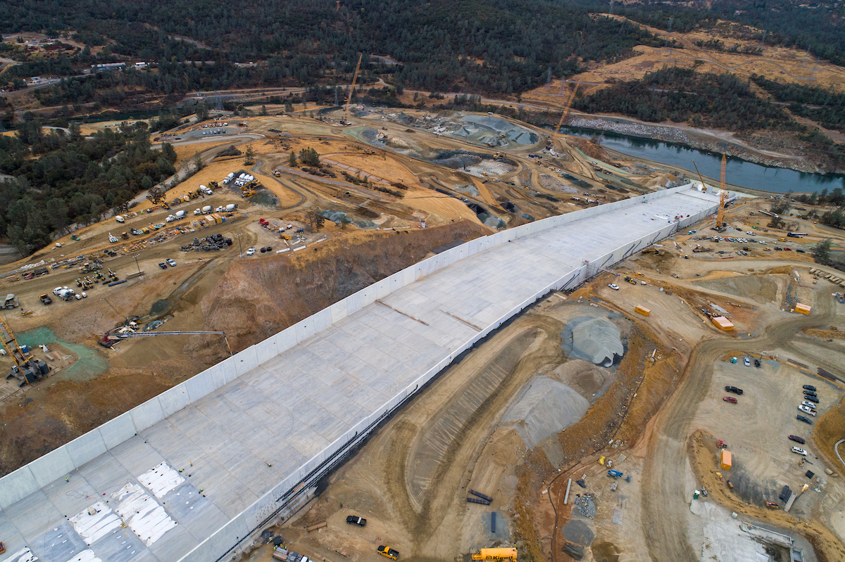 A drone provides an overview of the recently completed Lake Oroville main spillway during Phase 2 of the recovery effort.