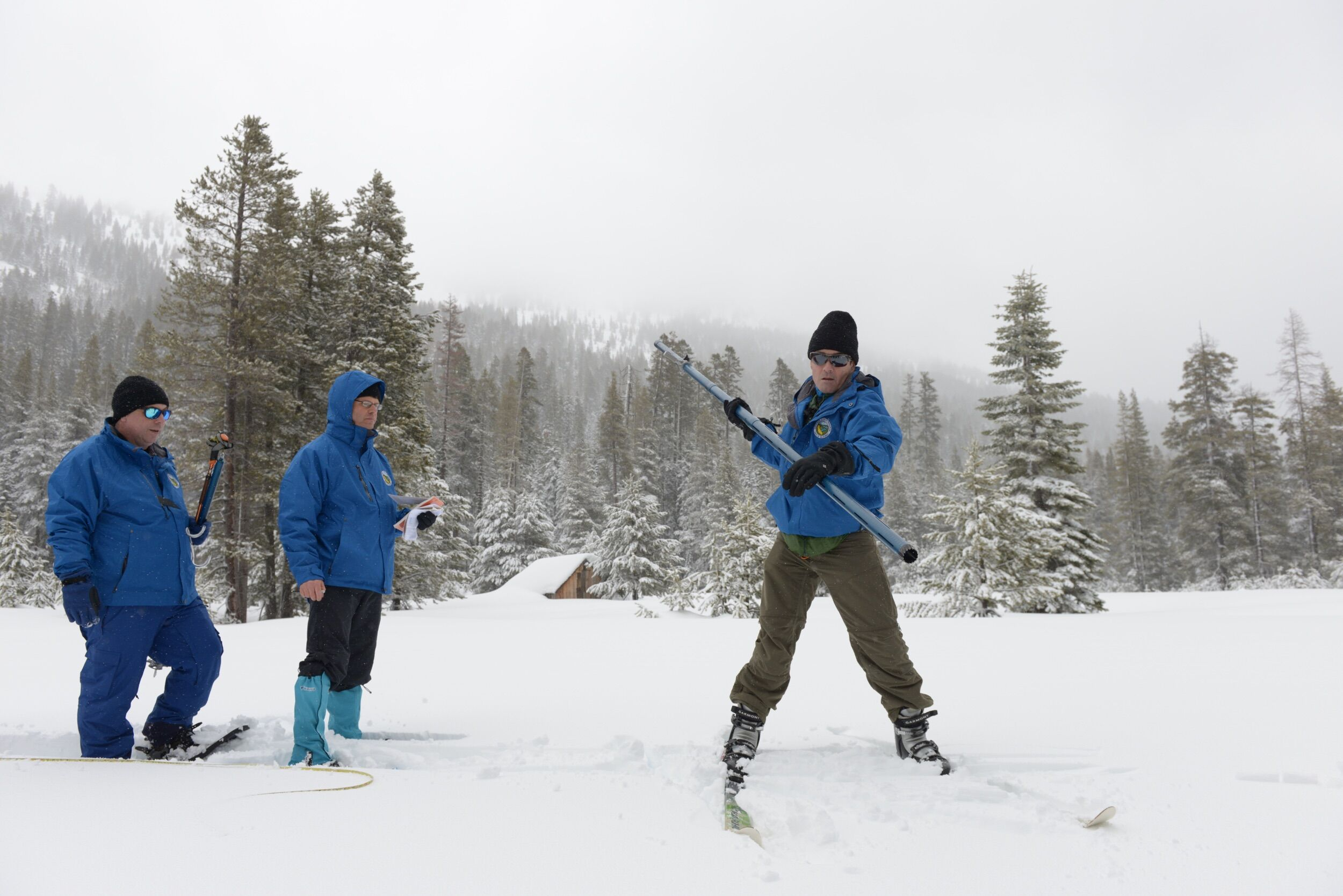 The third snow survey of 2019 is conducted at Phillips Station.
