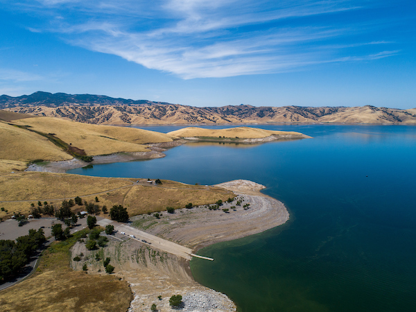 Aerial photo of San Luis Reservoir in Merced County.