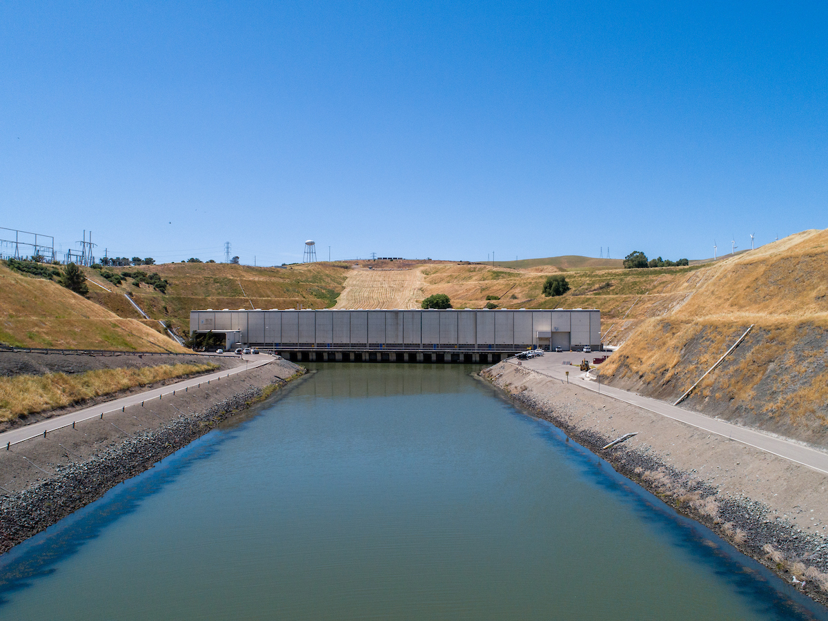 A drone provides a view of the Harvey O. Banks Delta Pumping Plant, the first major plant designed and constructed within the California State Water Project.