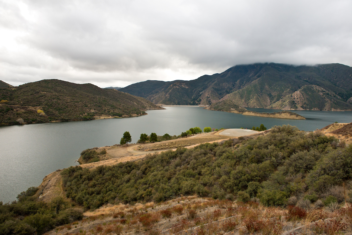 A view from the California Department of Water Resources Vista Del Lago Visitor Center located on a bluff overlooking Pyramid Lake in Los Angeles County.